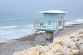 Lonely lifeguard tower on beach Royalty Free Stock Photo