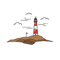 Lonely lighthouse on a background of rock and sky. Travel concept.