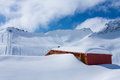 Lonely mountain hut presena glacier italy Royalty Free Stock Image