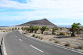 Lonely road in the desert in tenerife canary islands Royalty Free Stock Photos