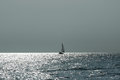 Lonely sailing boat. Royalty Free Stock Photo