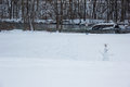 Lonely snowman in a cold park kent county mi Royalty Free Stock Photography
