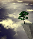 Lonely tree abstract surreal illustration. Royalty Free Stock Photo