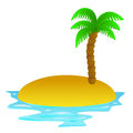 Lonely tropical sandy island clip art illustration Royalty Free Stock Images
