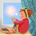 Lonely winter girl sitting on a window sill and drawing the sun outdoors Royalty Free Stock Photo