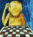 Lonesome chess player painting of the mixed media Royalty Free Stock Images