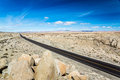 Lonesome highway a modern races across the ancient landscape in nevada s great basin Stock Image
