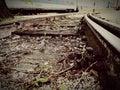 Long abandoned rail at the train station Royalty Free Stock Photo
