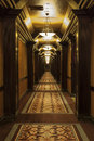 Long art deco corridor Photo stock