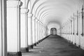 Long baroque arcade colonnade in black and white tone Royalty Free Stock Photo