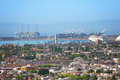 Long Beach harbor and biggest shipping port of US Royalty Free Stock Photo