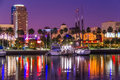 Long Beach waterfront with skyline and harbor at night, CA  (P) Royalty Free Stock Photo