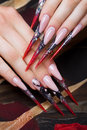 Long beautiful manicure on the fingers in black and red colors with a spider. Nails design. Close-up