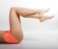Long beautiful woman legs . beautiful smooth skin Royalty Free Stock Photo