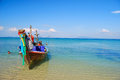 Long Boat on small island in Thailand Royalty Free Stock Photo