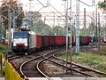 Freight train approaching railroad terminal in Poland. Royalty Free Stock Photo