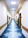Long corridor at office centre Royalty Free Stock Photo