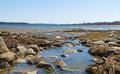 Long cove water runoff in searsport maine wide view of fresh into at with a working pier the distance Stock Photography