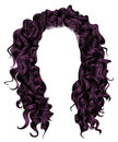 Long curly hairs purplecolors . beauty fashion style . wig . Royalty Free Stock Photo
