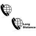 Long distance calling icons showing a telephone in front of a globe indicating calls Royalty Free Stock Images