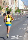 Long distance runner at prague marathon weekend Stock Photos