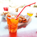 Long drink spritz with oranges on table Stock Photography