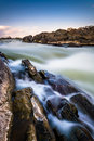 Long exposure of cascades on the Potomac River at Great Falls Pa Royalty Free Stock Photo