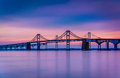Long exposure of the Chesapeake Bay Bridge, from Sandy Point Sta Royalty Free Stock Photo