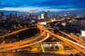 Long exposure of city highway overpass during twilight sunset over bangkok and intersection thailand Stock Photography