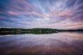 Long exposure of Lake Norman at sunset, at Lake Norman State Par Royalty Free Stock Photo