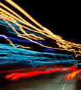 Long exposure light trail on night street Royalty Free Stock Photos