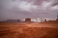 Long exposure in monument valley navajo park tribal wind and storm clouds Stock Image