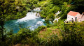 Long exposure panorama of waterfalls of the krka river in krka national park in croatia beautiful Stock Images