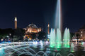 Long exposure photography at Aya Sofya,Hagia Sophia with fountain in the foreground at Sultanahmet Park, Istanbul Royalty Free Stock Photo