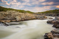 Long exposure of rapids in the Potomac River at sunset, at Great Royalty Free Stock Photo