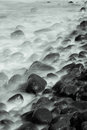 Long exposure sea cost with tonality hokkaido japan japanese coast of okhotsk Royalty Free Stock Image