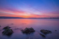 Long exposure seascape after sunset. Royalty Free Stock Photo