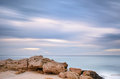 Long exposure of seascape during the winter apulia italy near ostuni Royalty Free Stock Photos