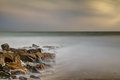 Long exposure shot of seashore at evening Royalty Free Stock Photo