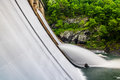 Long exposure of water flowing over prettyboy dam in baltimore county maryland Royalty Free Stock Image