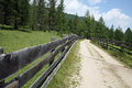 Long fence of mountain road Royalty Free Stock Photos