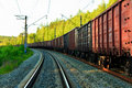 Long freight train Stock Photo