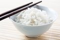 Long grain rice bowl with chopsticks Stock Photos
