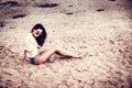 Long hair brunette girl on the beach Royalty Free Stock Photo