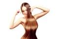 Long hair. Hairstyle. Hair Salon. Fashion model with shiny hair. Royalty Free Stock Photo