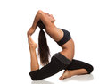 Long Hair Pretty Female Practicing Yoga Stock Images