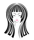 Long hair style icon logo girls face on white background Stock Images