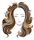 Long hair style icon, logo women face Royalty Free Stock Photo