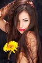Long hair and yellow daisy Stock Photos