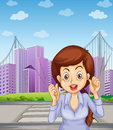 A long haired businesswoman at the pedestrian lane illustration of Stock Photography